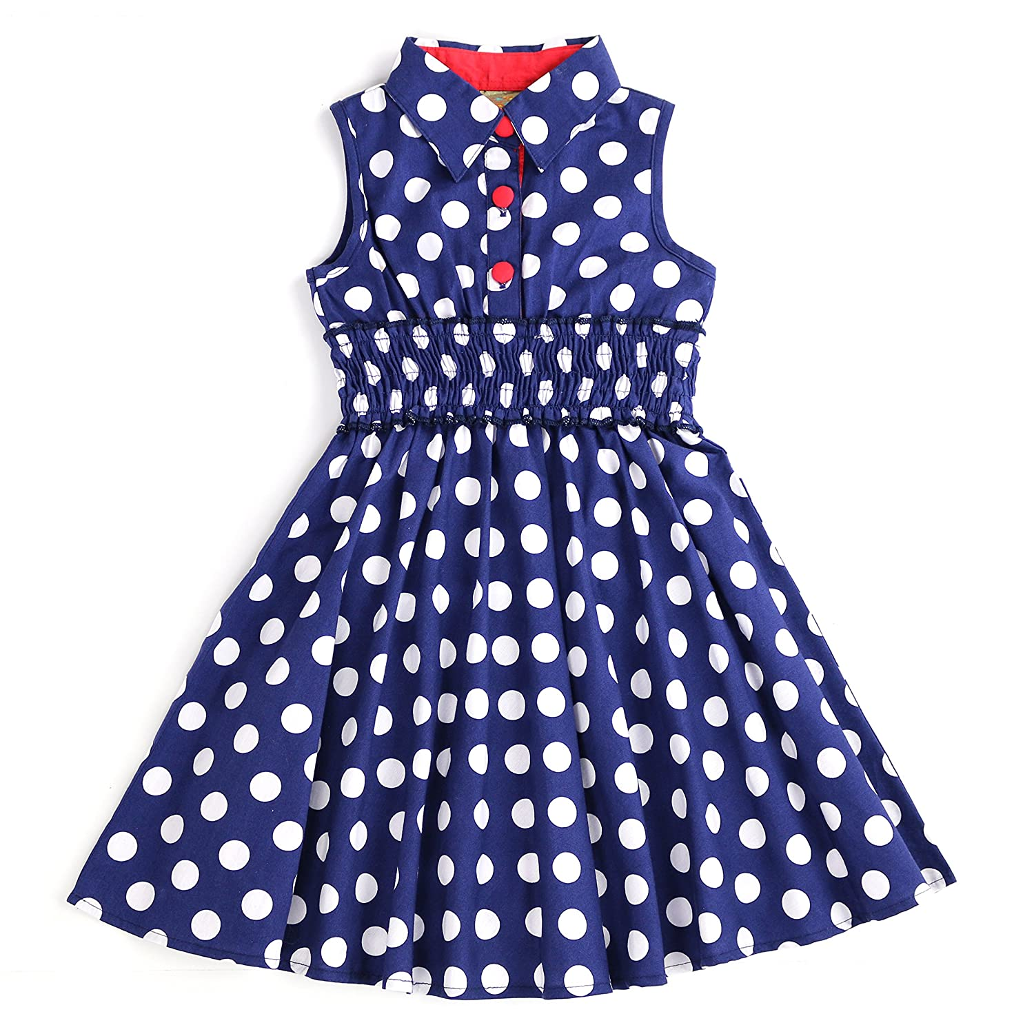 Vintage Style Children's Clothing: Girls, Boys, Baby, Toddler MARIA ELENA - Toddlers Girls Super Soft Cotton Sleeveless Cinched Waist Fiona Gabrielle Polka Dot Shirt-Dress (2T-7/8) $21.99 AT vintagedancer.com