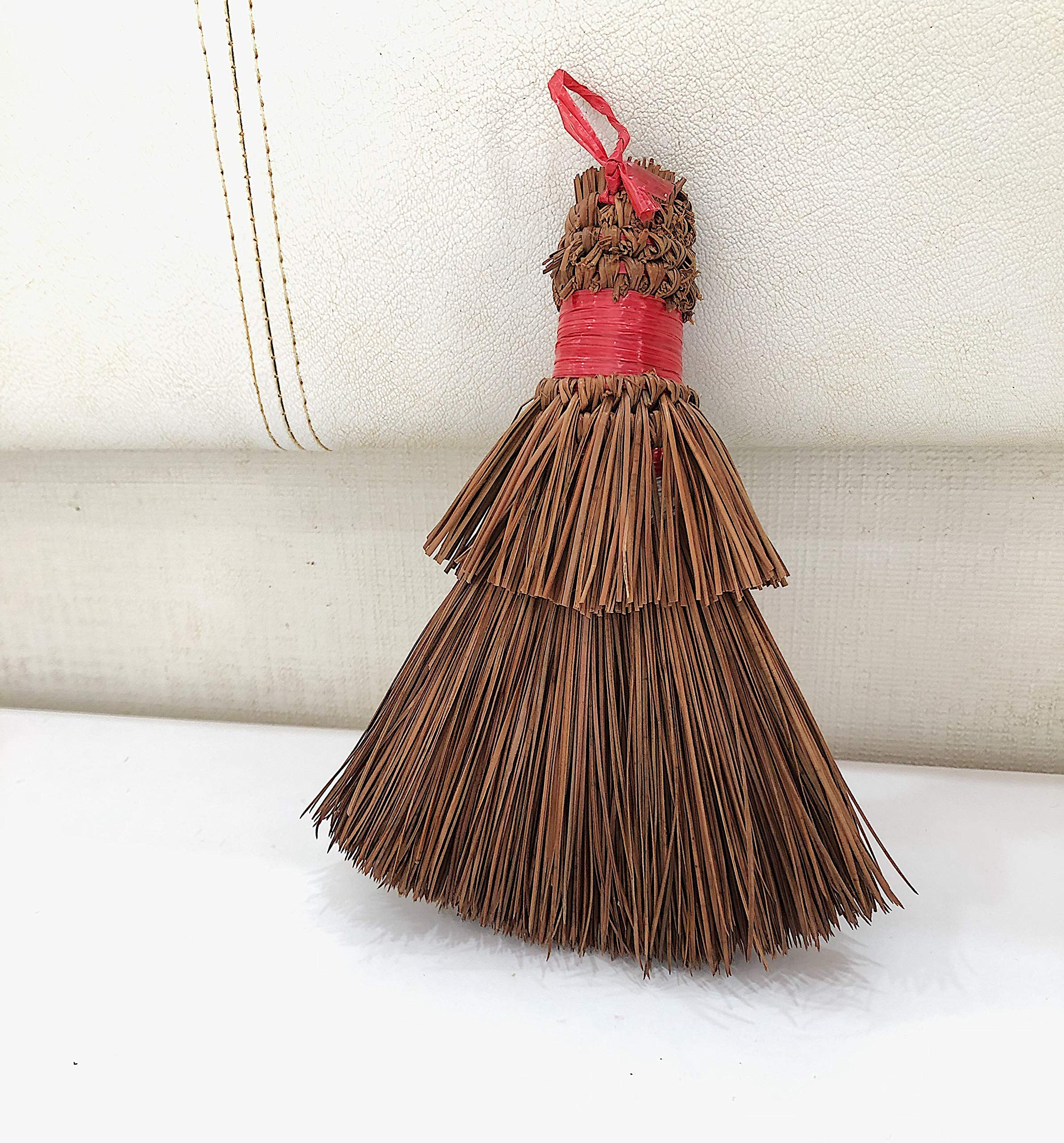 natufi Whisk Brush - Red tie, 100% Pine Handmade, 8 Inch, Easily Cleans Car Mats and Table Dinner