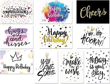 20 Typographie-Postkarten-Set moderne Geburtstagskarten Geburtstag Spr/üche-Postkarten Spruchkarten 10 Motive mit jeweils 2 Karten