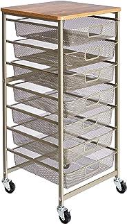 AmazonBasics Rolling Storage Cart and Organizer with 7 Metal Mesh  Drawers
