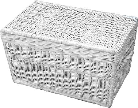 Blanco Cesta de mimbre de 60 cm, maletín, cesta, Baúl mimbre baúl: Amazon.es: Hogar