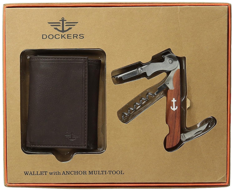 Dockers Cartera para hombre con de madera vino herramienta - Marrón -: Amazon.es: Ropa y accesorios