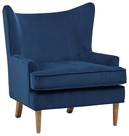 Accent Chairs Wingback.Rivet Chelsea Velvet Wing Back Accent Chair Navy