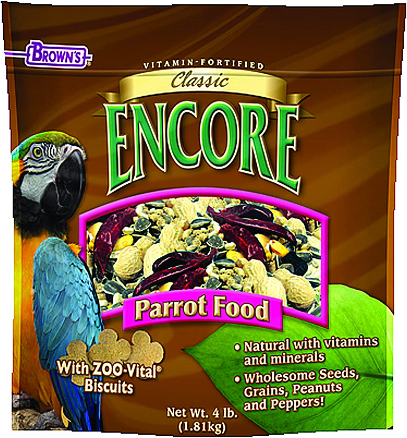 F.M.BROWN'S Encore Classic Natural Parrot Food, 4lb
