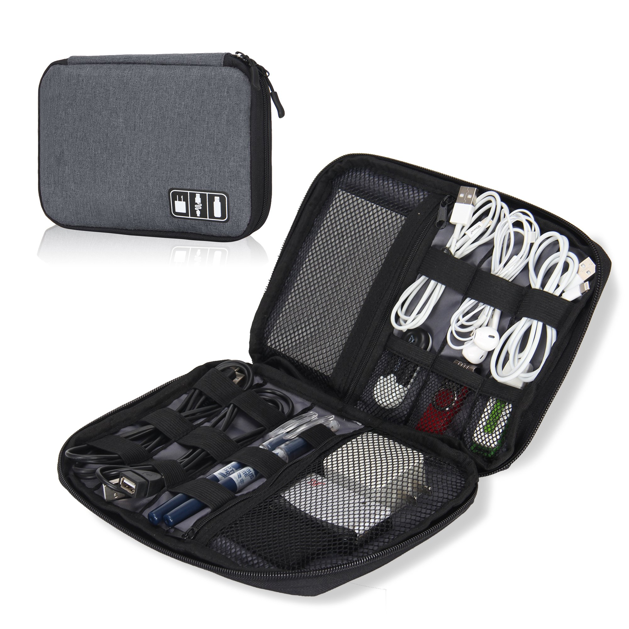 Hynes Eagle Travel Universal Cable Organizer Electronics Accessories Cases For Various USB, Phone, Charger and Cable, Grey