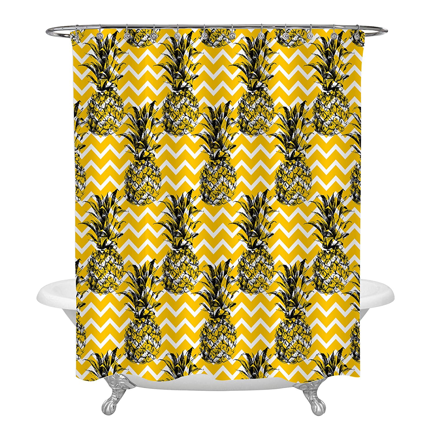 72 X 78 Inch Gold Black White Zig Zag Pattern Stylish Bath Decorations Summer Bathroom Decor Sets with Hooks for Teens in Antique Print MitoVilla Sketch Pineapple Shower Curtain