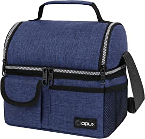 OPUX Insulated Dual Compartment Lunch Bag for Men, Women | Double Deck Reusable Lunch Pail Cooler Bag with Shoulder Strap, Soft Leakproof Liner | Large Lunch Box Tote for Work, School (Navy)