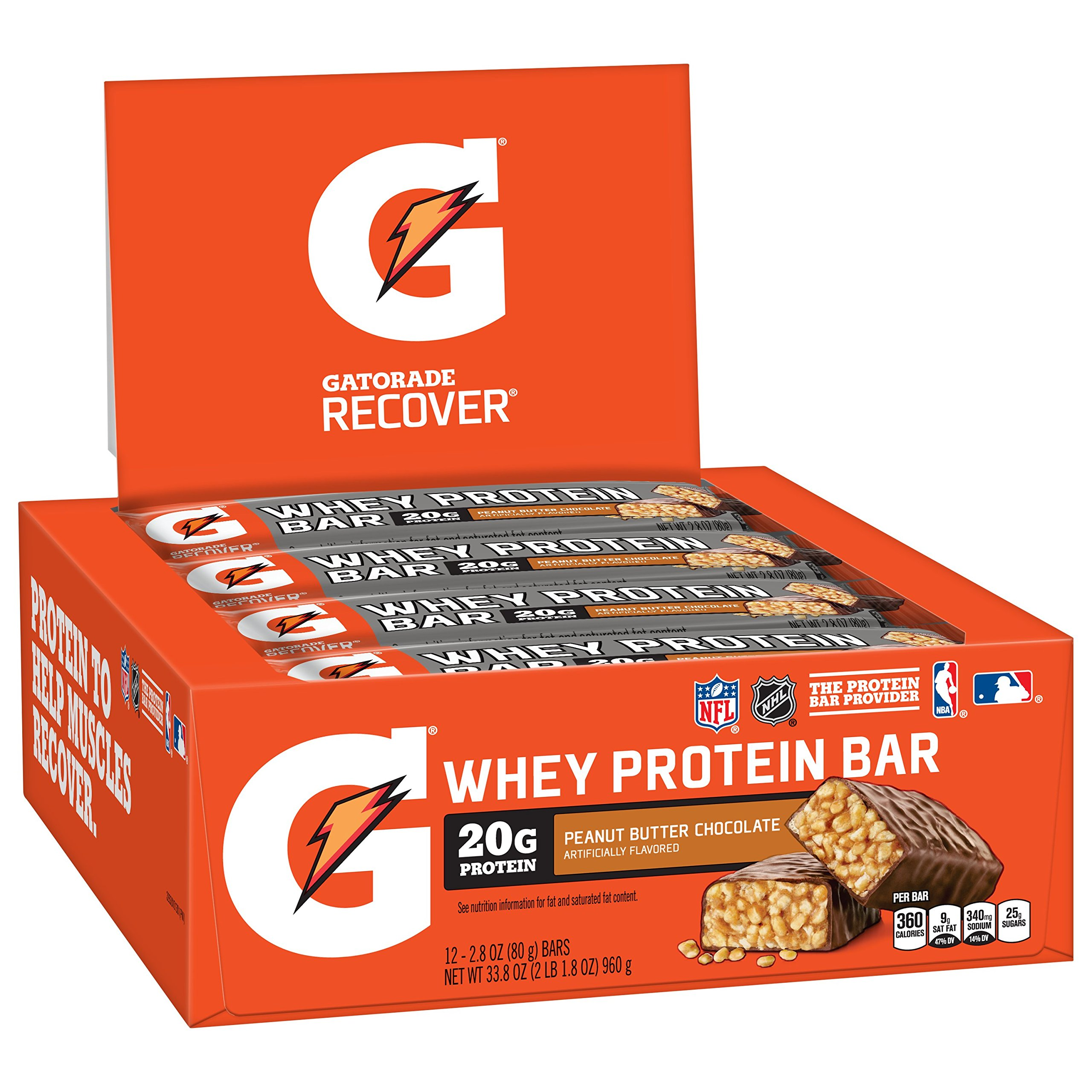 7a4396db6 Gatorade Whey Protein Recover Bars Chocolate Peanut Butter 12 Count ...