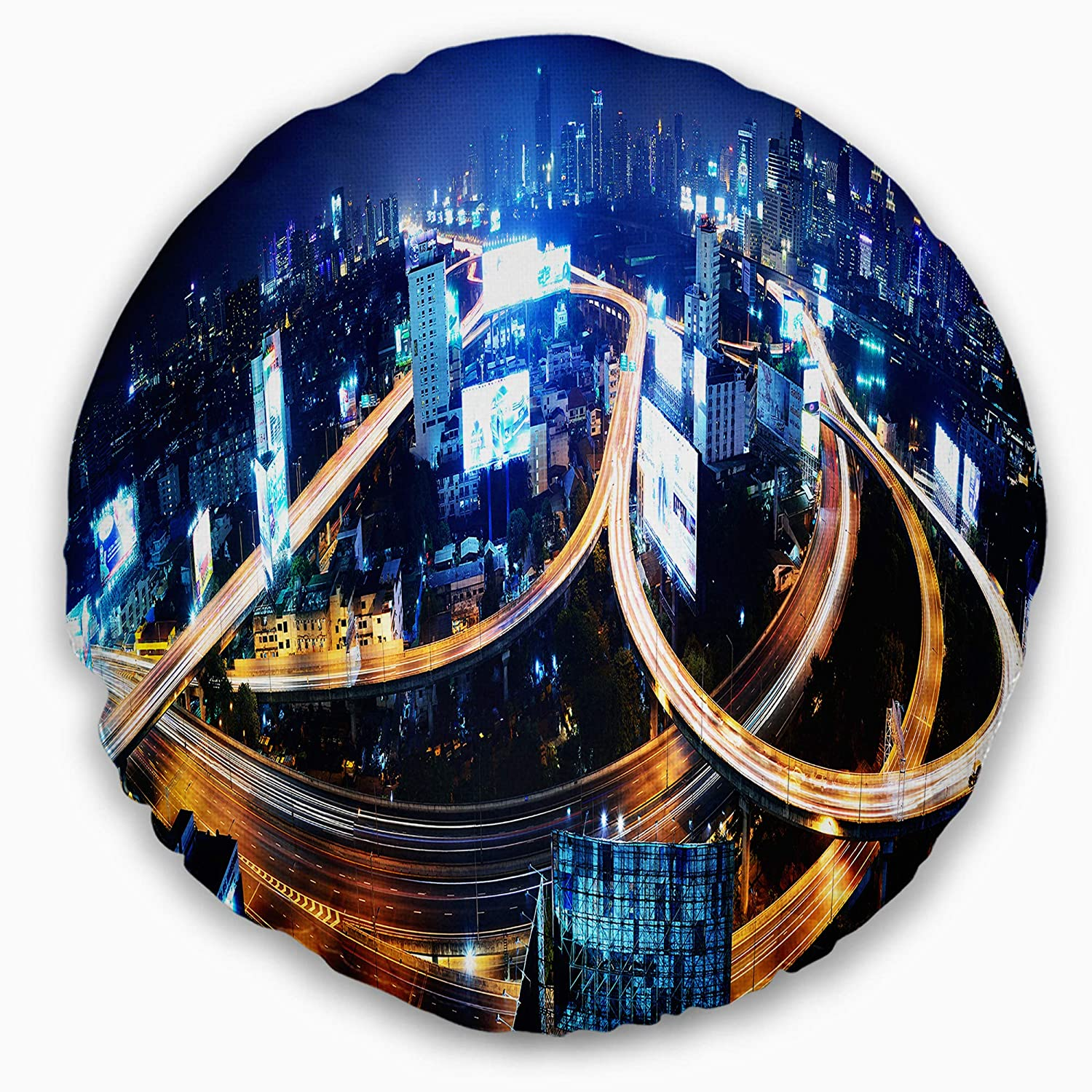 Designart Cu8256 20 20 C Bangkok Expressway Aerial View Cityscape Photo Round Cushion Cover For Living Room Sofa Throw Pillow 20 Insert Printed On Both Side Throw Pillow Covers Home Kitchen