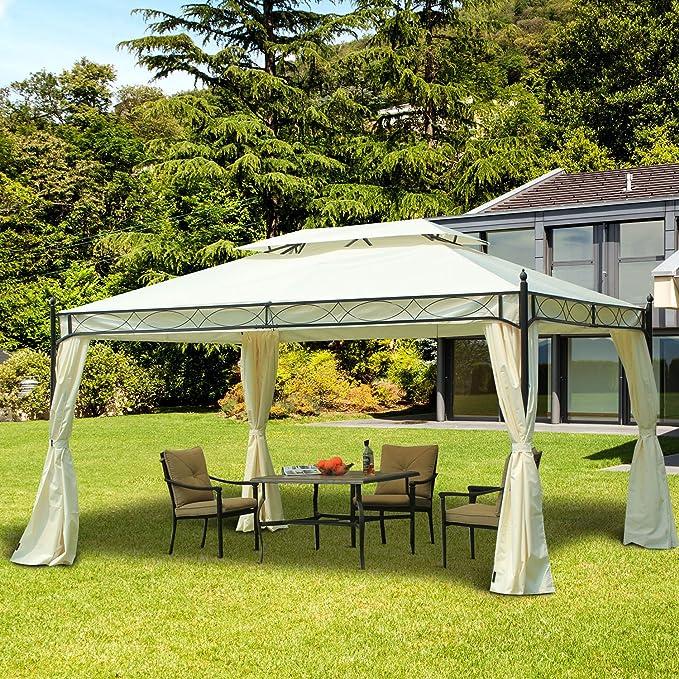 Outsunny Carpa 3x4m Pabellon Cenador de Jardin Blanca con Cortinas: Amazon.es: Jardín