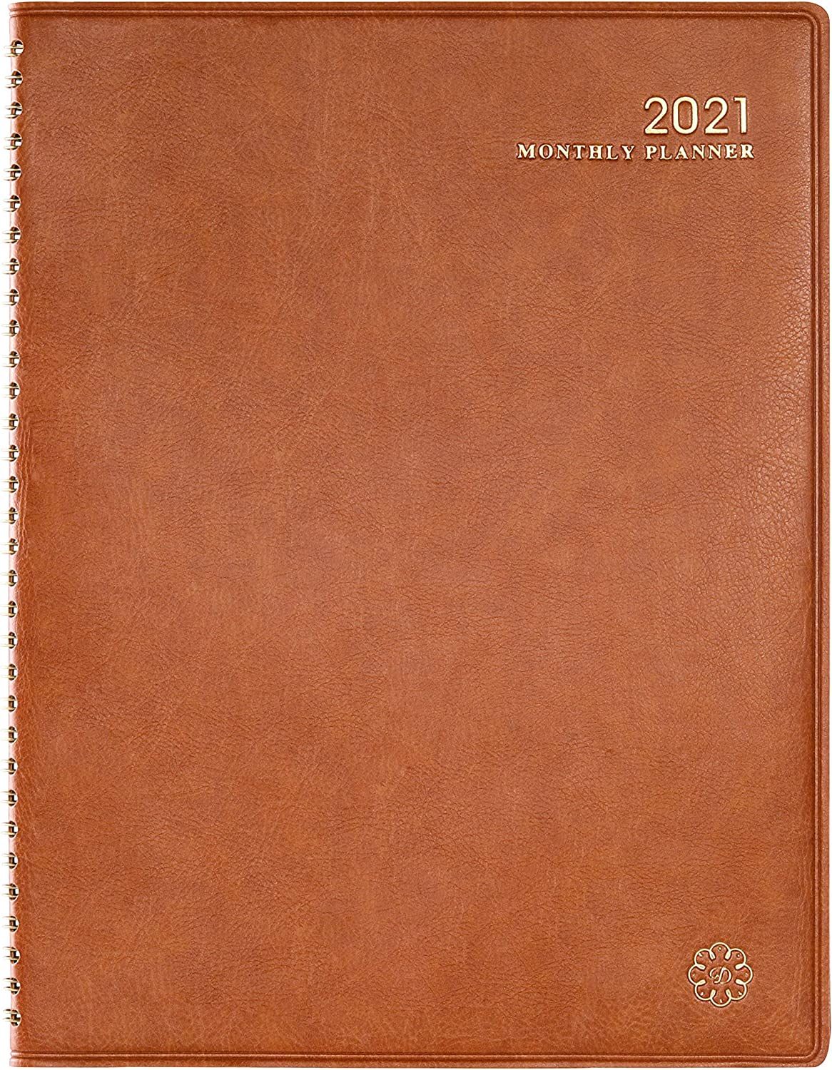 """2021 Monthly Planner- Monthly Planner 2021 with Monthly Tabs, 9"""" x 11"""" Faux Leather Soft Cover, Twin-Wire Binding + Inner Pocket"""
