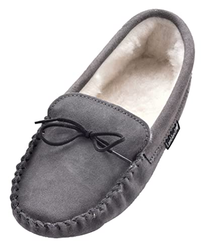 Lambland Mens Sheepskin Suede Moccasin Slippers with Soft Suede Sole   UK  Made Moccasins in Grey
