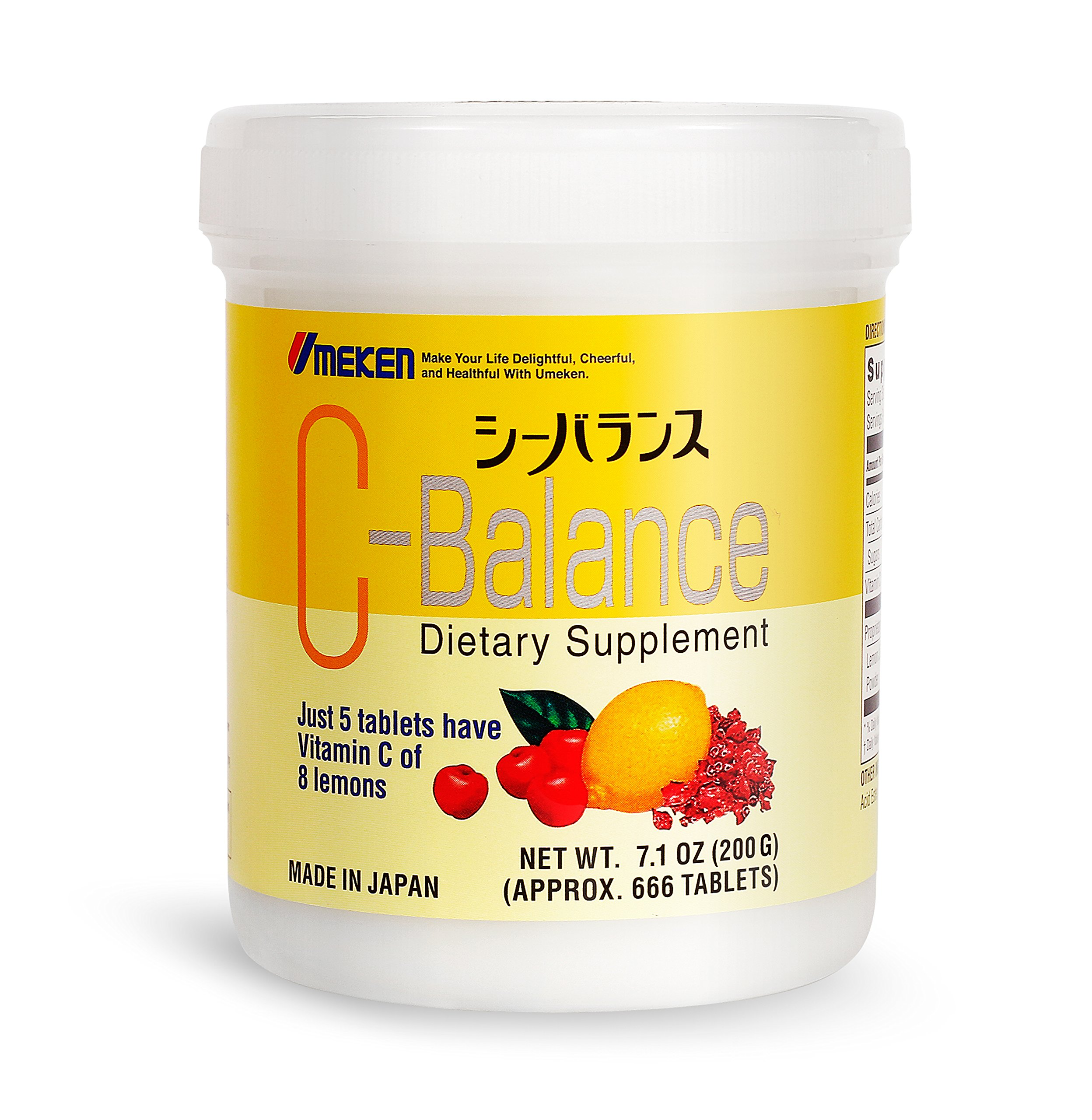 Umeken C-Balance (200g) - Highly Concentrated Vitamin C containing antioxidants, Citric Acid, Gamma-linolenic Acid. Chewable, Great for Kids. Made in Japan.