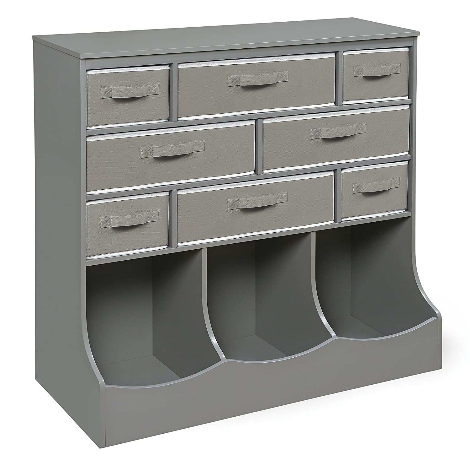 Storage Station 8 Cubby 3 Bin Organizing Unit with Reversible Baskets