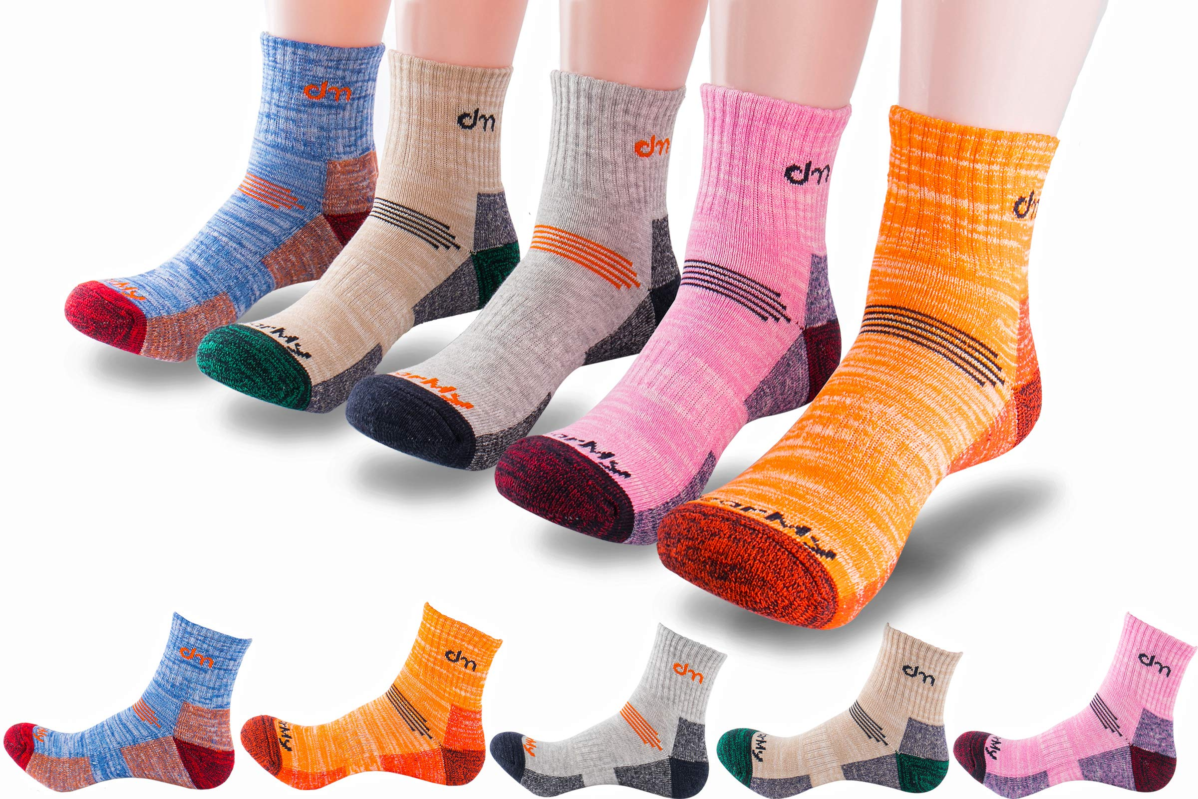 5Pack of Women's Multi Performance Mid Cushion Outdoor Hiking Ankle Socks |Athletic, Running| Moisture Wicking | Year Round (Small (Shoe size 6-8 US), 5pack-Orange/Grey/Beige/Blue/Pink) by DEARMY