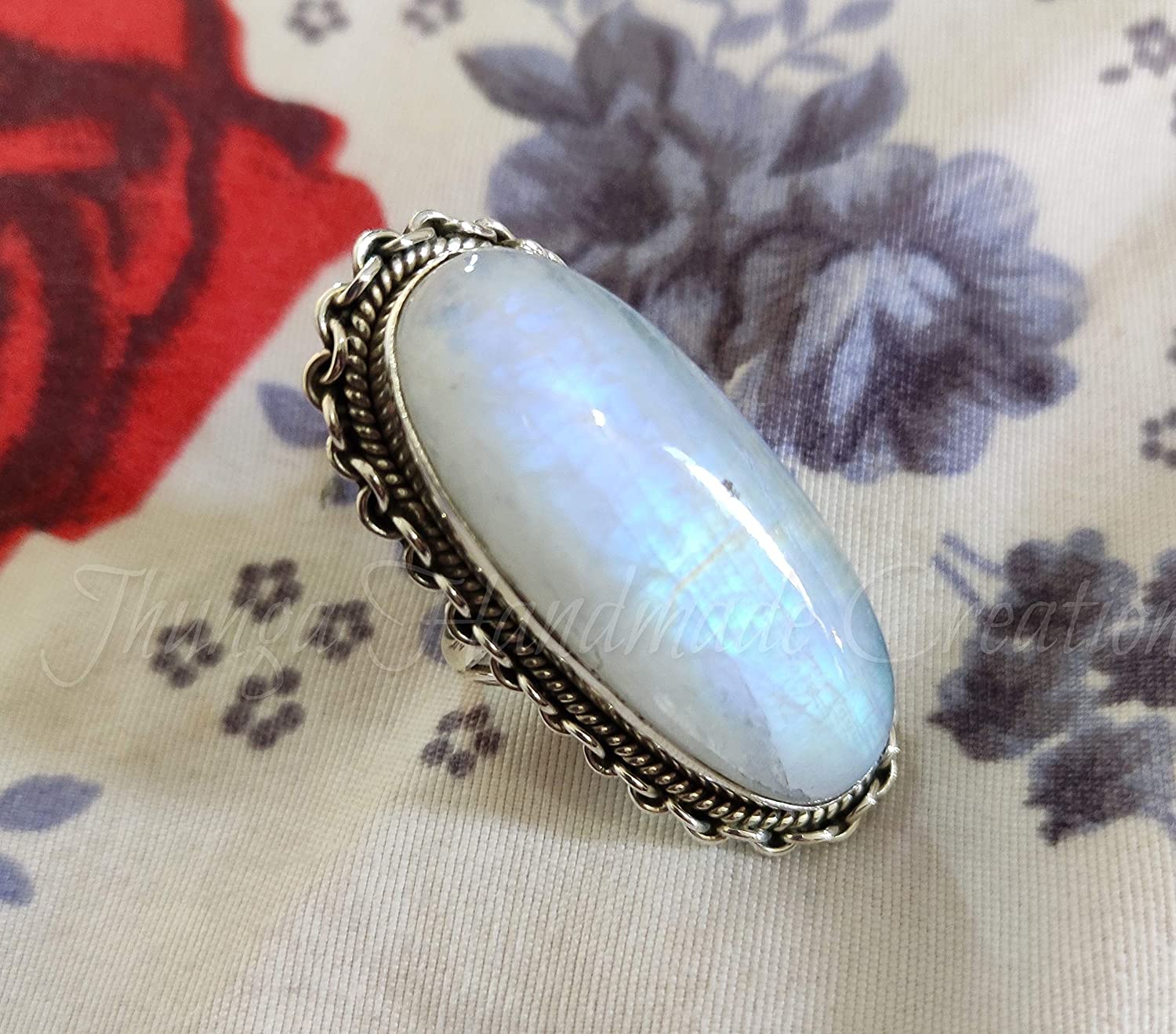 Rainbow moonstone ring-Large statement ring-Right hand ring-June birthstone ring-Gemstone ball ring-Wrap around ring-Silver ring-Spiral bold