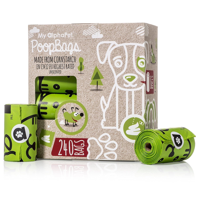 My AlphaPetBolsas Caca Perro Biodegradables – Respetuosa con el Medio Ambiente – EN13432 La Mejor Valorada – 16 Rollos 240 Bolsitas – Tamaño Grande ...
