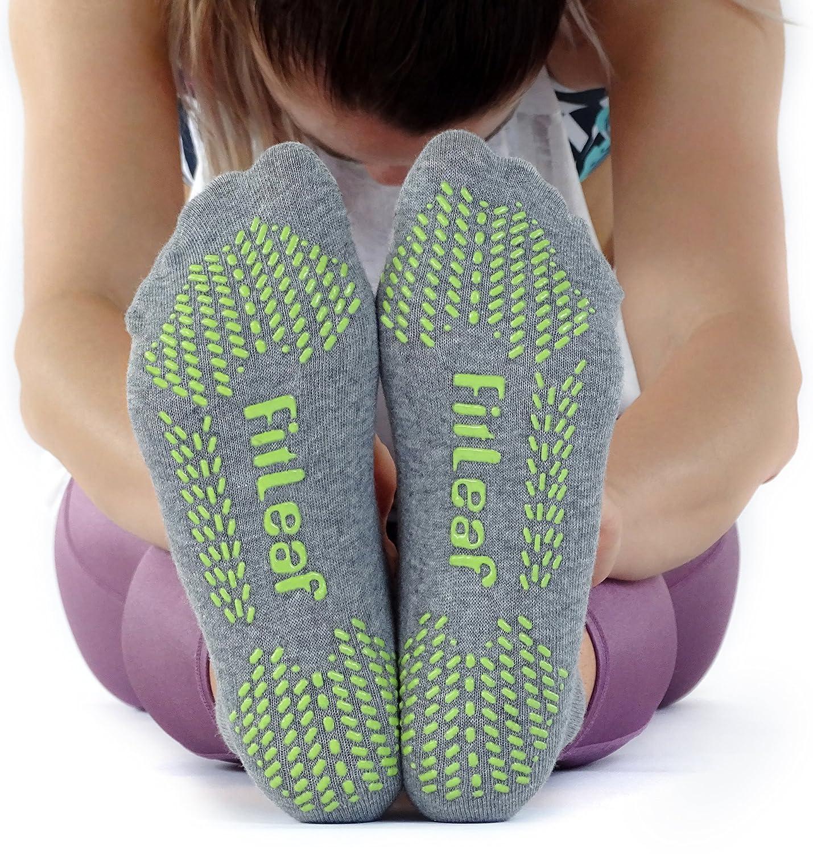2 Pairs FITLEAF Yoga Socks for Women Barre Ballet Non Slip Socks with Grip for Pilates