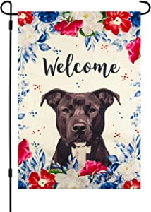 Garden Flag with Dog Pitbull, 12 x 18 Inch, Welcome Spring, Summer, Double Sided Burlap, Red White Blue Flowers, American Pit Bull Terrier, Staffordshire Bull Terrier, All Year Round Yard Décor