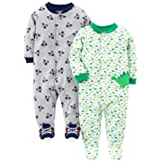 Simple Joys by Carter's Baby Boys' 2-Pack Cotton Footed Sleep and Play, Dino/Sports, 3-6 Months