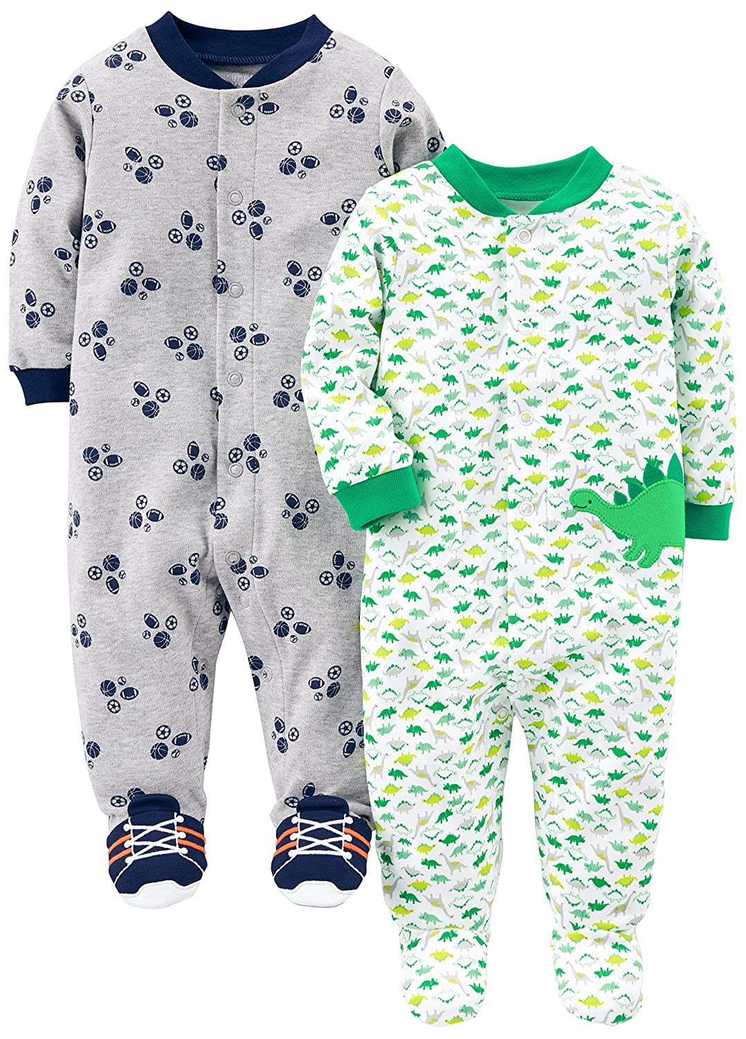 Simple Joys by Carter's Baby Boys' 2-Pack Cotton Footed Sleep and Play Simple Joys by Carter's