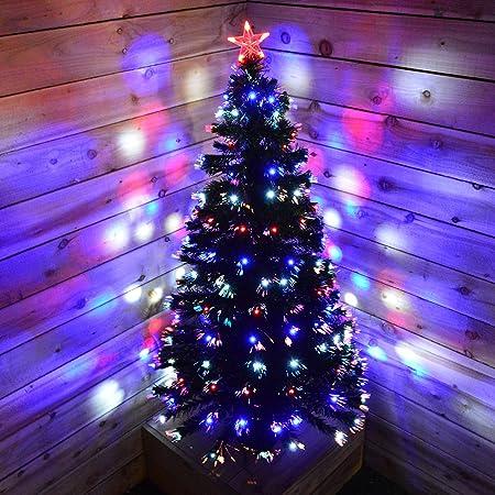 Albero Di Natale Fibra Ottica 180 Cm.Kingfisher Dfo180 Albero Di Natale Con Led E Fibra Ottica 180 Cm Trasparente Amazon It Casa E Cucina