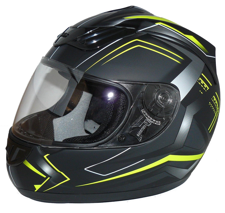 protectWEAR Motorradhelm, Integralhelm, Flammendesign (Matt-Blau/Schwarz), M H510-BF-M