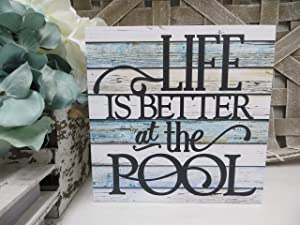 "DKISEE Life is Better at The Pool Wooden Sign Summer Pool Sign Family Pool Sign Summer Decor Beach House Wood Sign 12""x12"" Wall Art Rustic Wood Sign Plaque Wall Decoration"