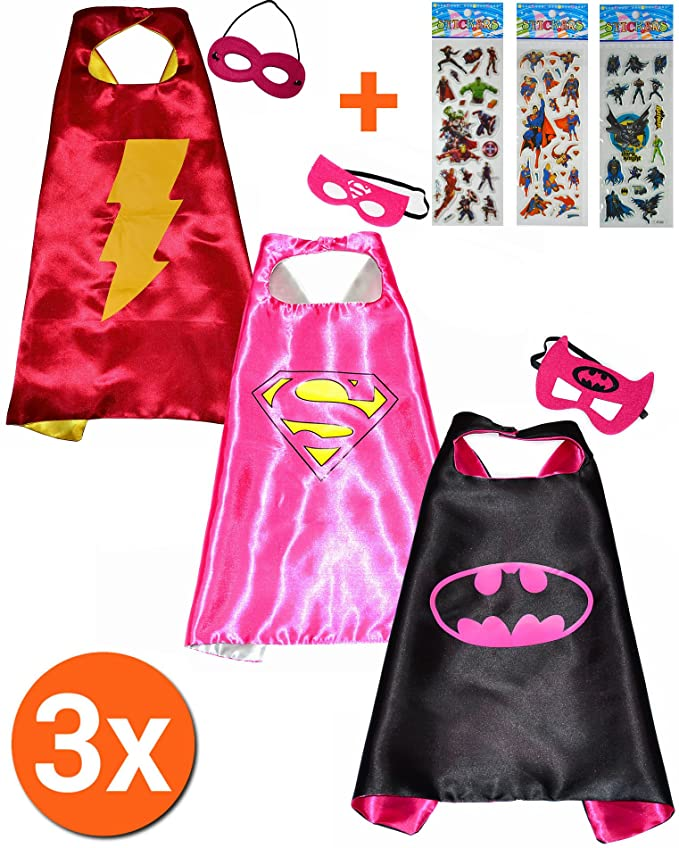Batgirl + Super Girl + flash girl Cape y máscara (Juego 3 unidades) + 3 pegatinas. Kim y máscara - Disfraces para niños de superhéroes Cape y máscara Pijama ...