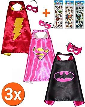 Batgirl + Super Girl + flash girl Cape y máscara (Juego 3 unidades) +