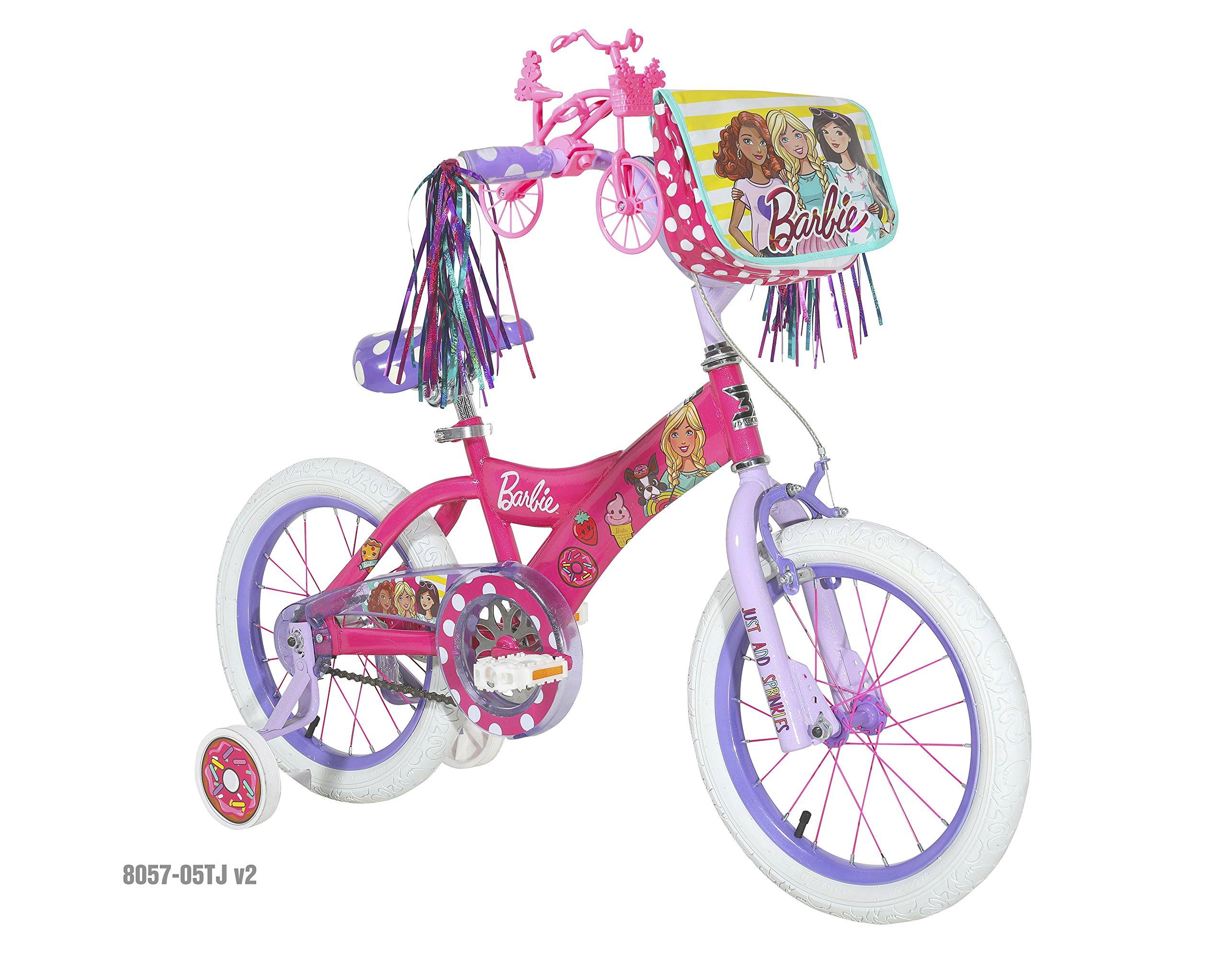 Barbie Dynacraft Girls BMX Street Bike 16'', Pink/White/Purple