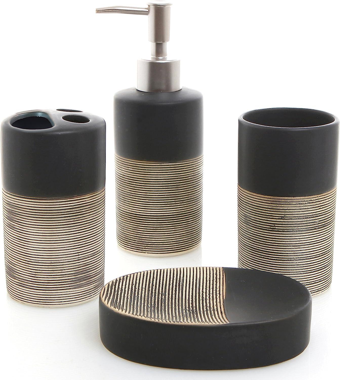 MyGift Deluxe 4 Piece Black & Beige Ceramic Bathroom Set w/Soap Dispenser, Toothbrush Holder, Tumbler & Soap Dish: Home & Kitchen
