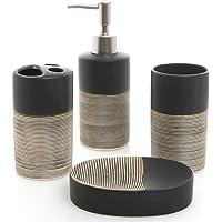 MyGift Deluxe Juego de baño de cerámica de 4 Piezas con dispensador de jabón, Soporte para Cepillo para Polvo de Dientes, Vaso y jabonera