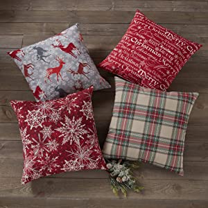 "Greendale Home Fashions Assorted Pattern 18"" Square Holiday Throw Pillows (Set of 4), Multicolor"