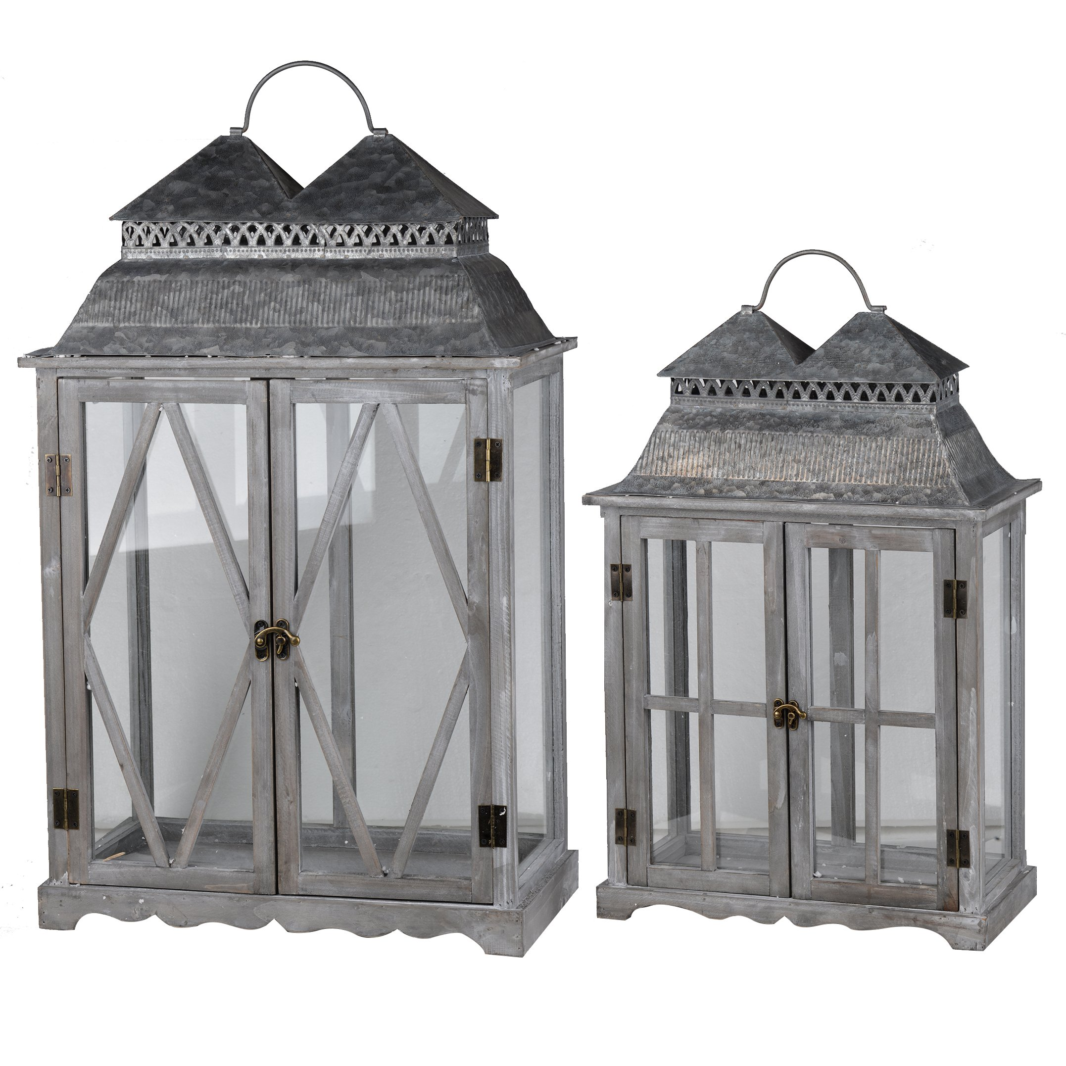 A&B Home D42232 Silver Scape Lanters (Set of 2)