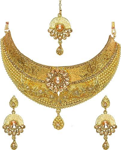 Ethnic Indian Choker Gold Plated Kundan Jewelry Necklace Earrings Wedding Set