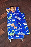 EVERYDAY KIDS Toddler Nap Mat with Removable Pillow - Roarin' Dinos - Carry Handle with Straps Closure, Rollup Design, Soft Microfiber for Preschool, Daycare, Travel Sleeping Bag - Ages 3-6 Years