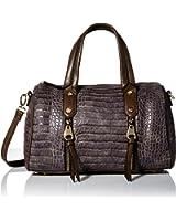 MG Collection Crocodile-Embossed Bowler Bag