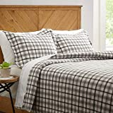 Amazon Brand – Stone & Beam Rustic Plaid Flannel Duvet Cover Set, Full / Queen, Black and White