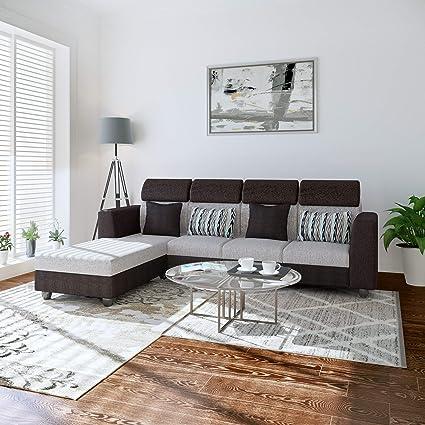 Bharat Lifestyle Oreo Fabric 6 Seater L Shape Corner Sofa Color Black Grey