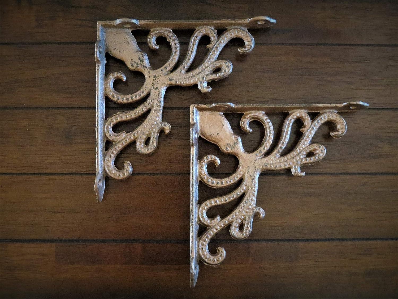 Cast Iron Shelf Brackets Octopus Design Aged Copper or Pick Your Color