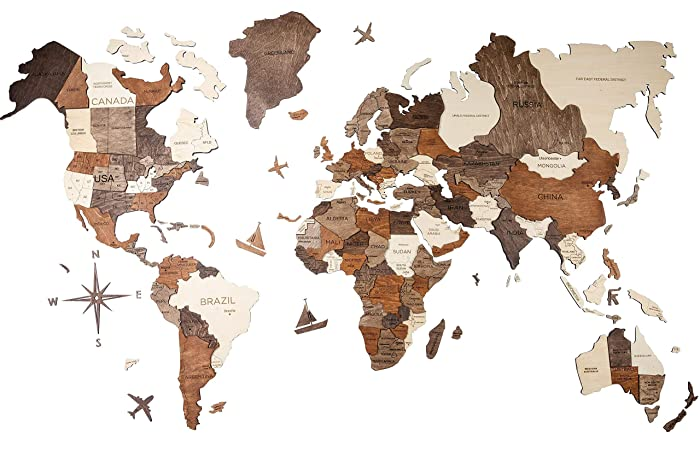 Map Of World France.French 3d Wood World Map Handcrafted Wall Decor Christmas Gifts With