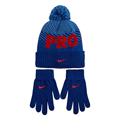 49bc7fb3b7335a Amazon.com: Nike Kids' Little Beanie and Glove Set, Game Royal/Red ...