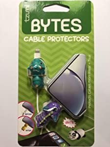 Tzumi Bytes Cable Protectors for iPhone/iPad USB Cable, Cute Animals Charging Cable Saver, Phone Accessory Protect USB Charger (Green Dragon and Purple Monsters)
