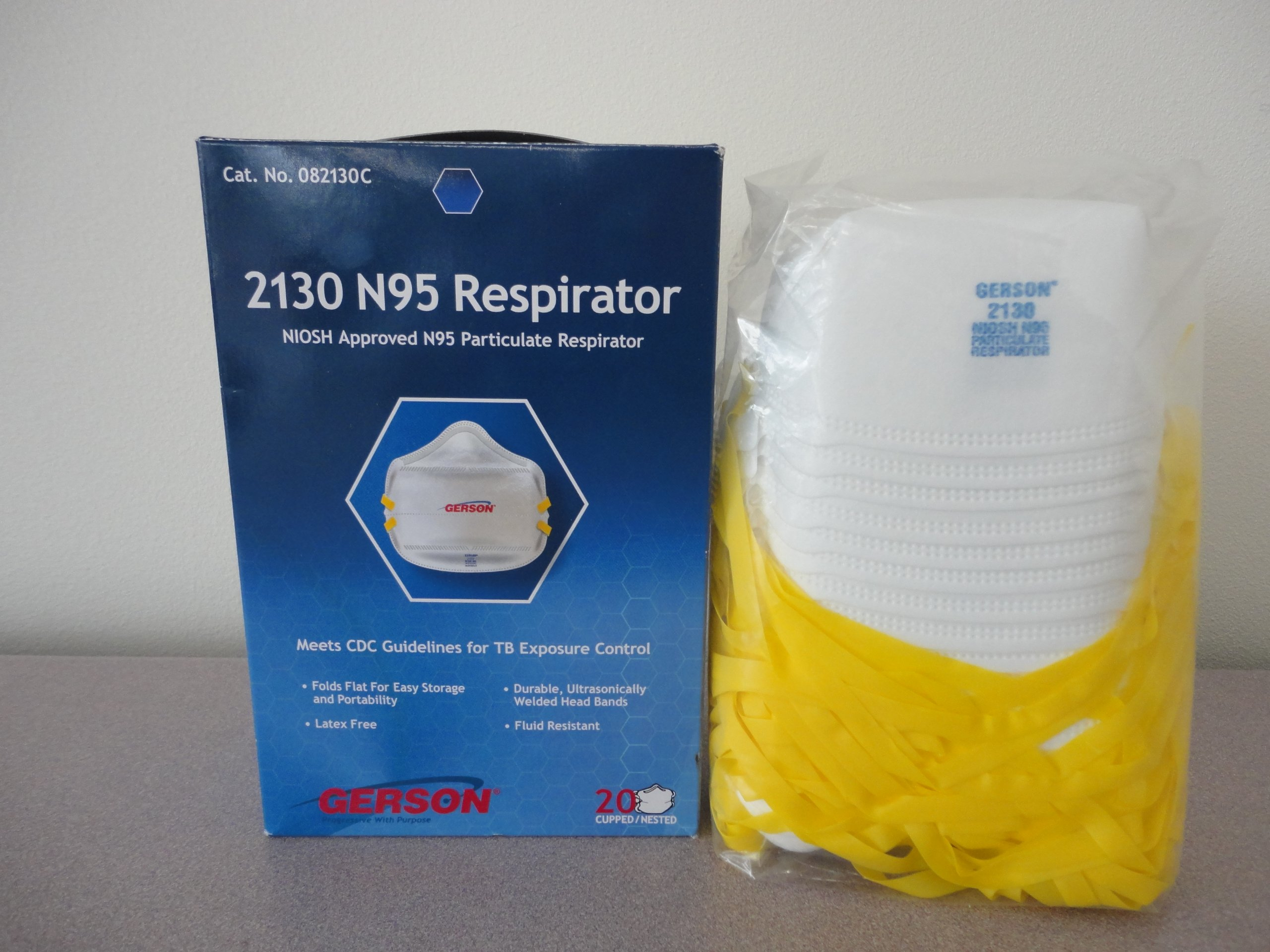 Gerson 2130 N95 Smart-mask Particle Respirator Mask - 20-Pack - Made in USA (10)
