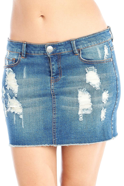 e49f38bdb949 Hollywood Star Fashion Women's Distressed Denim Mini Skirt at Amazon Women's  Clothing store: