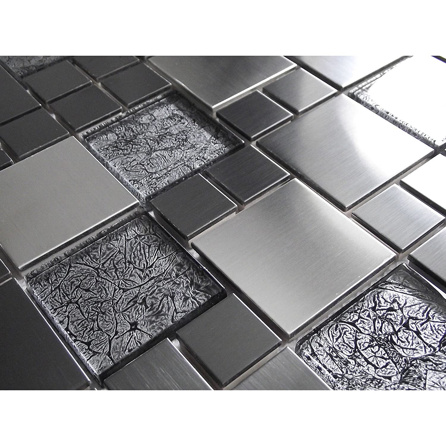 New Brushed Steel Silver Metal & Foil Backed Glass Luxury Mosaic Tiles. Household Discount