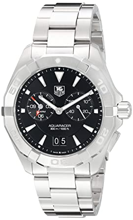 611c285701f Image Unavailable. Image not available for. Color: Tag Heuer Aquaracer  Chronograph Black Dial Stainless Steel Mens Watch ...