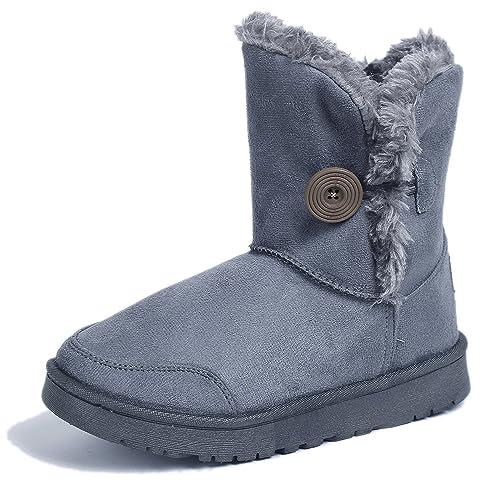 AgeeMi Shoes Mujeres Nieve Invierno Solo Button Bota Zapatos Clásicas Botines,EuX12 Gris 36