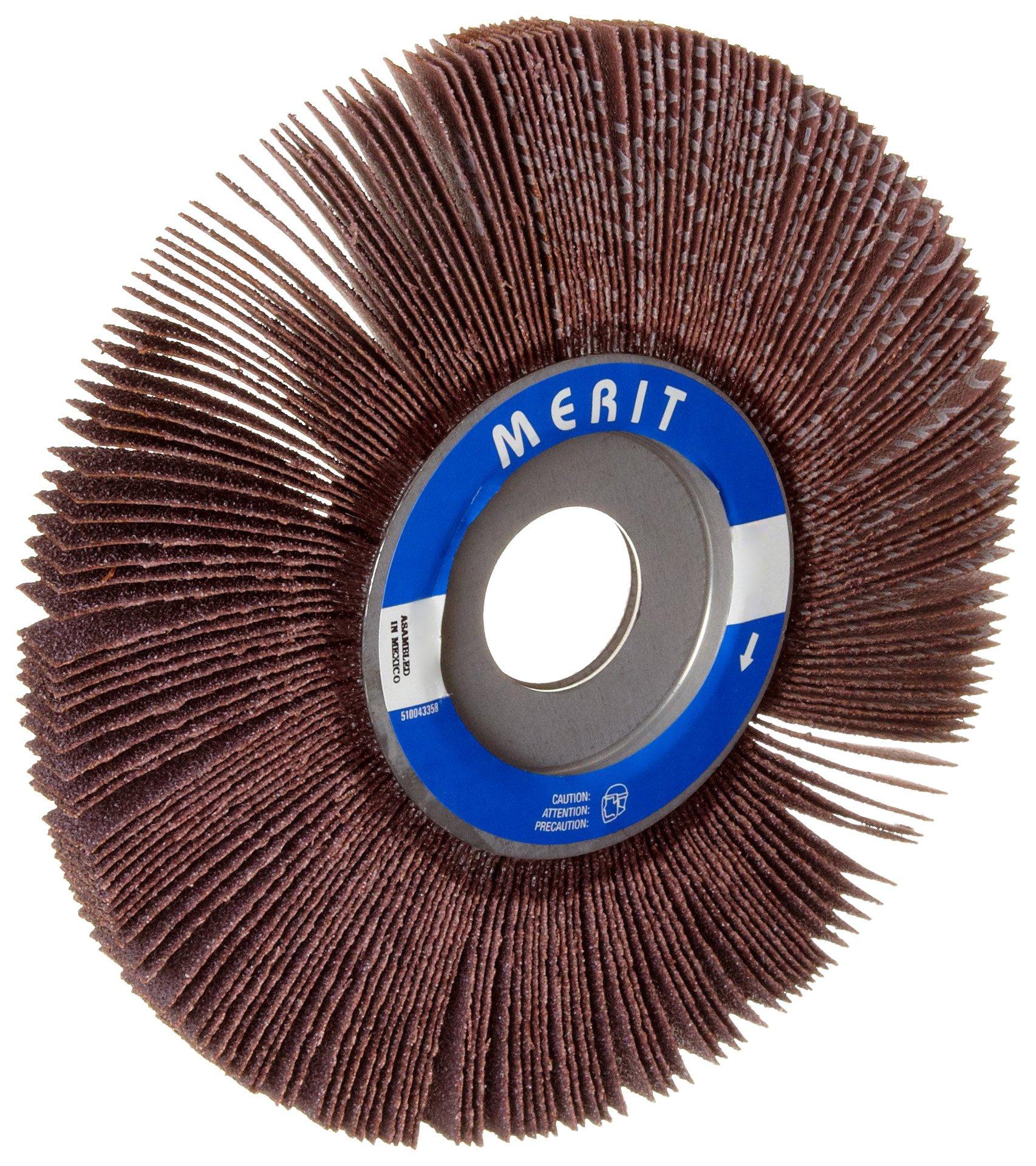 Merit Economy Abrasive Flap Wheel, 1'' Arbor, Round Hole, Ceramic Aluminum Oxide, 6'' Dia., 1'' Face Width, Grit 80, 6000 Max RPM (Pack of 5)